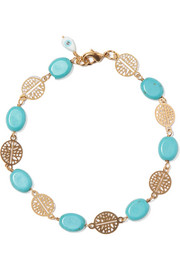 Gold-plated turquoise and pearl bracelet