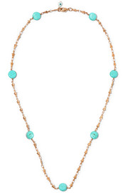 Gold-plated turquoise and pearl necklace