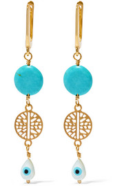 Ocean Tear gold-plated, turquoise and mother-of-pearl earrings