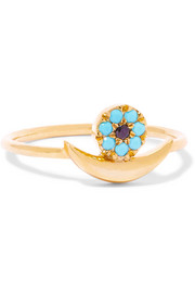 Moon Eye gold-plated cubic zirconia ring