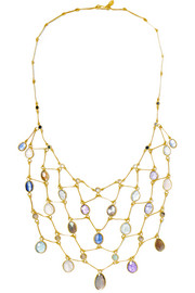 18-karat gold multi-stone necklace