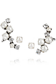 Silver-plated, Swarovski crystal and faux pearl ear cuffs and stud earrings