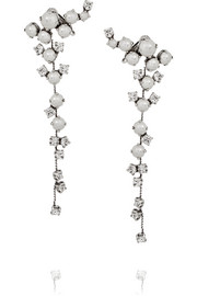 Silver-plated, Swarovski crystal and pearl clip earrings