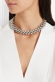 Silver-plated, Swarovski crystal and faux pearl choker