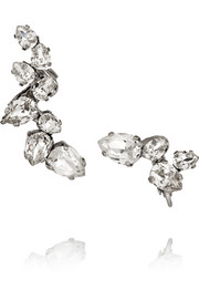 Rhodium-plated Swarovski crystal ear cuff and stud earring