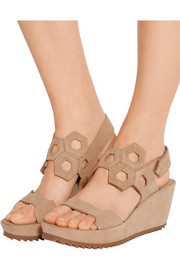 Fermina cutout suede wedge sandals