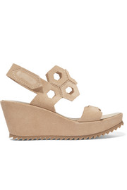 Pedro Garcia Fermina cutout suede wedge sandals