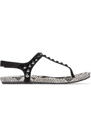 Judith Swarovski crystal-studded suede and python sandals