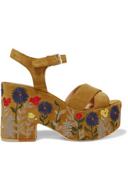 Helissa embroidered suede platform sandals