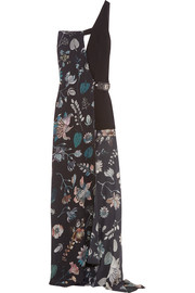 One-shoulder printed silk-chiffon and crepe maxi dress