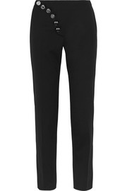Stretch-wool twill straight-leg pants