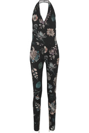 Floral-print stretch-wool halterneck jumpsuit