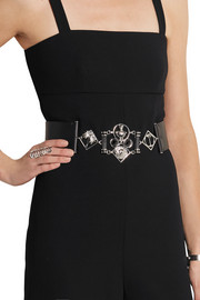 Embellished leather waist belt
