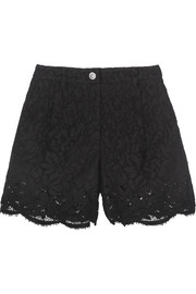 Cotton-blend guipure lace shorts