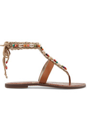 Gerome embellished macramé and leather sandals