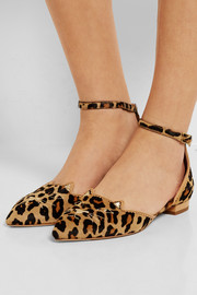 Charlotte Olympia Brogue Kitty embroidered leopard-print calf hair point-toe flats