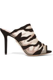 Charlotte Olympia Osa zebra-print suede and mesh mules