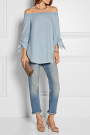 Tibi Off-the-shoulder cotton-chambray top