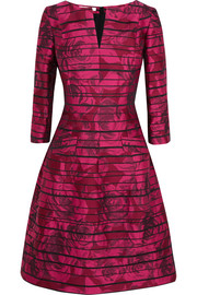Organza-paneled floral-jacquard dress
