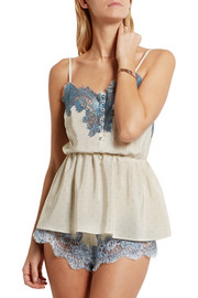 Bollicine Love Chantilly lace-trimmed printed silk crepe de chine camisole