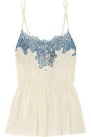 Rosamosario Bollicine Love Chantilly lace-trimmed printed silk crepe de chine camisole