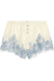Rosamosario Bollicine Love Chantilly lace-trimmed printed silk crepe de chine shorts