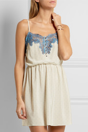 Rosamosario Bollicine Love Chantilly lace-trimmed printed silk crepe de chine chemise