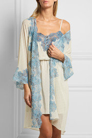 Rosamosario Bollicine Love Chantilly lace-trimmed printed silk-georgette robe
