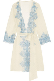 Bollicine Love Chantilly lace-trimmed printed silk-georgette robe