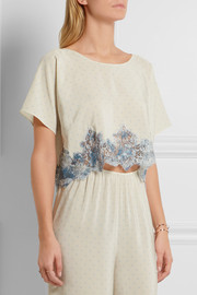 Rosamosario Bollicine Love Chantilly lace-trimmed printed silk crepe de chine pajama top