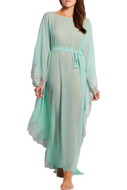 Rosamosario Turks and Caicos lace-trimmed silk-georgette kaftan
