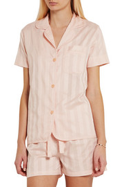 Bodas Shadow Stripe cotton-gauze pajama top