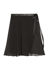 Satin-trimmed chiffon wrap skirt
