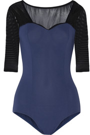 Two-tone mesh-paneled stretch leotard