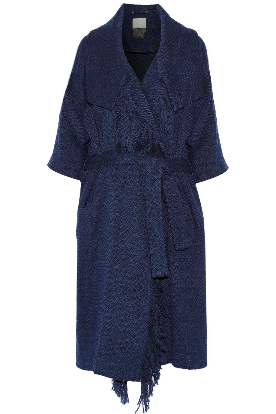Wittie Fringed Bouclé Coat, By Malene Birger, Navy, Women's, Size: XS