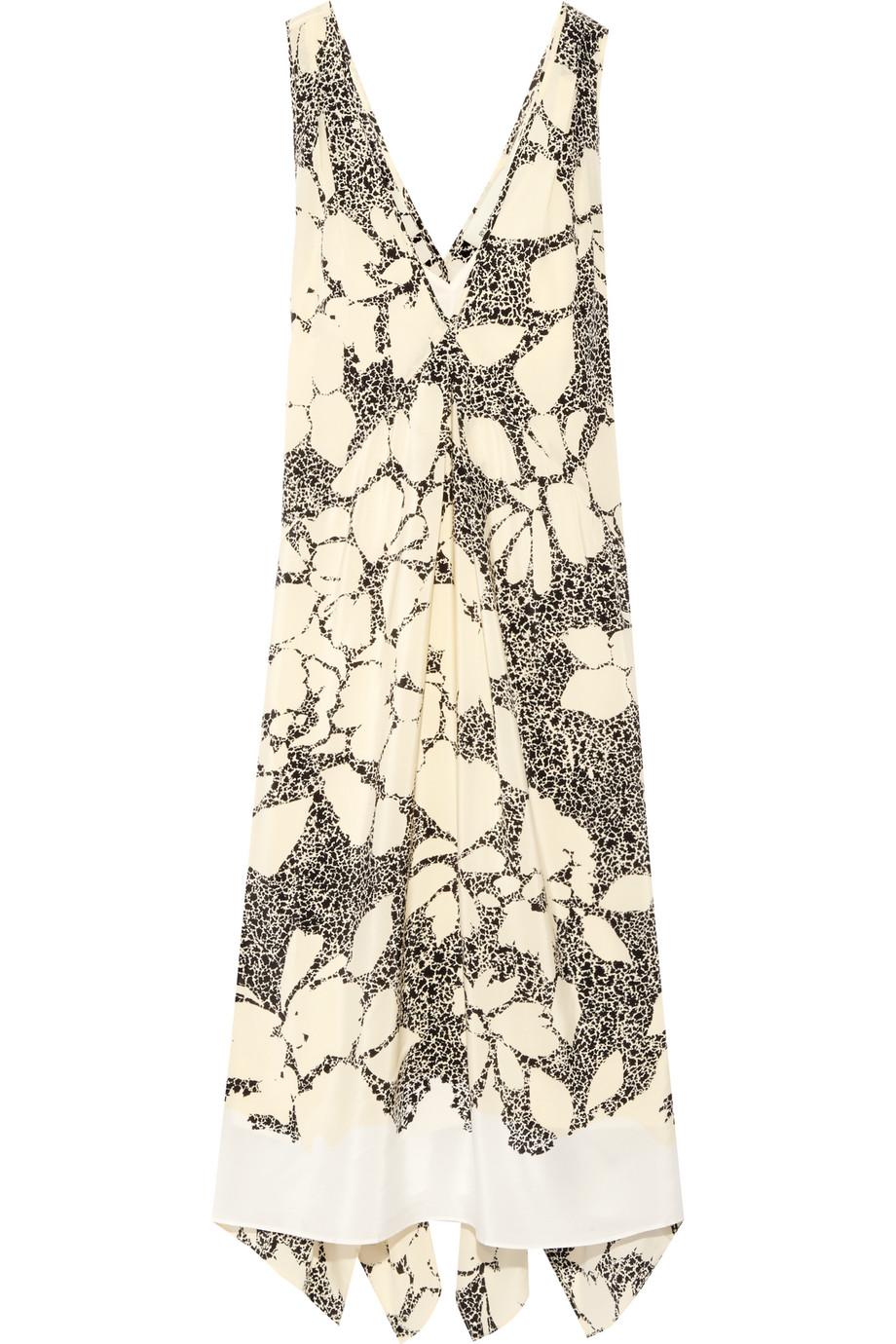 Quinesa Printed Silk-Crepe Dress, By Malene Birger, Cream, Women's - Printed, Size: 32