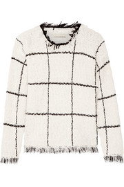 Tapania fringed checked cotton-blend bouclé sweater