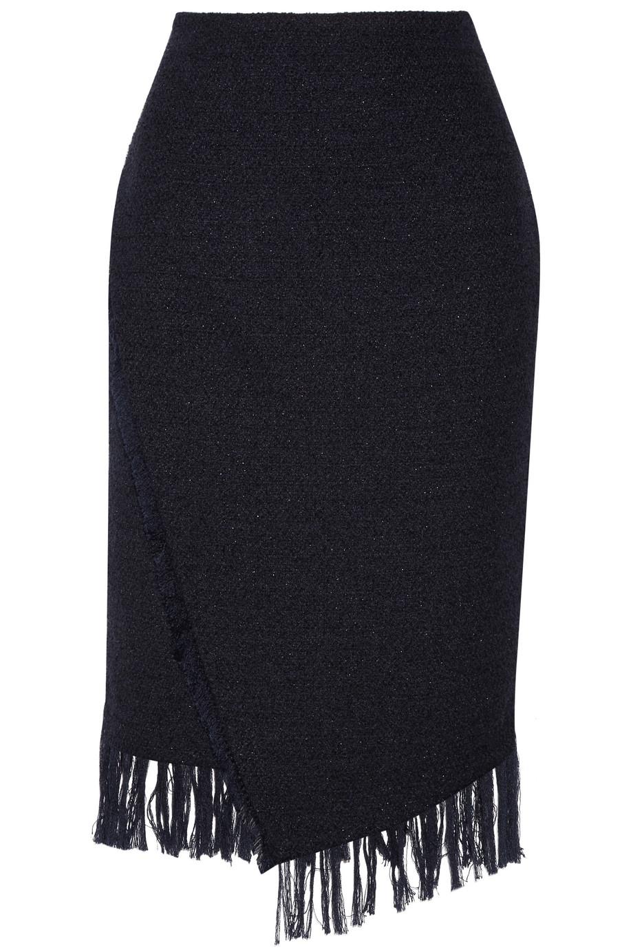 Diva Fringed Bouclé Midi Skirt, By Malene Birger, Navy, Women's, Size: 32