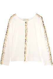 Bivas embellished stretch-crepe blouse