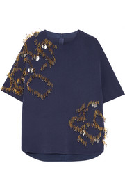 Ellasa embellished stretch-crepe top