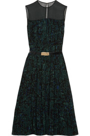 Belted printed georgette dress