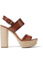 Summer leather espadrille platform sandals