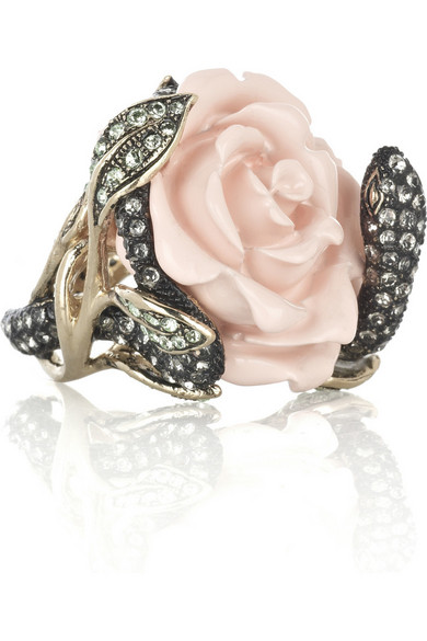 roberto cavalli swarovski crystal rose ring net a porter com. Black Bedroom Furniture Sets. Home Design Ideas