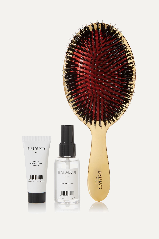 Balmain Paris Hair Couture Gold boar bristle brush & haircare set