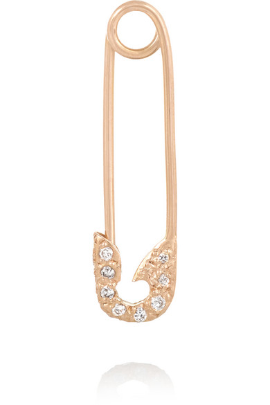 Ileana Makri - Safety Pin 18-karat Rose Gold Diamond Earring