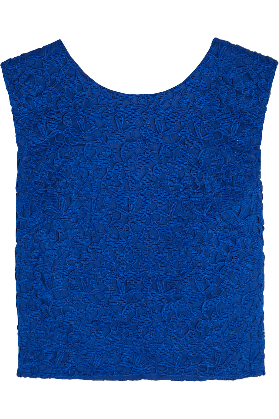 J.Crew Collection Liola Cropped Guipure Lace Top, Bright Blue, Women's, Size: 0