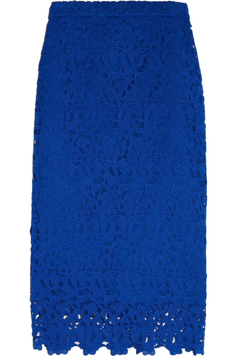 J.Crew Collection Liola Guipure Lace Pencil Skirt, Blue, Women's, Size: 0