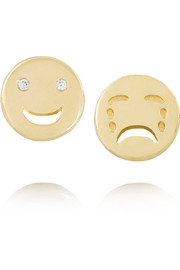 Happy Sad 14-karat gold diamond earrings