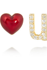 Love U 14-karat gold, diamond and enamel earrings