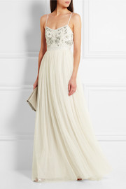 Needle & Thread Embellished satin-crepe and tulle gown